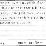 宮代町・東武動物公園駅 ゆかし整骨院:冷え症・生理痛・肩こりの患者様の声画像
